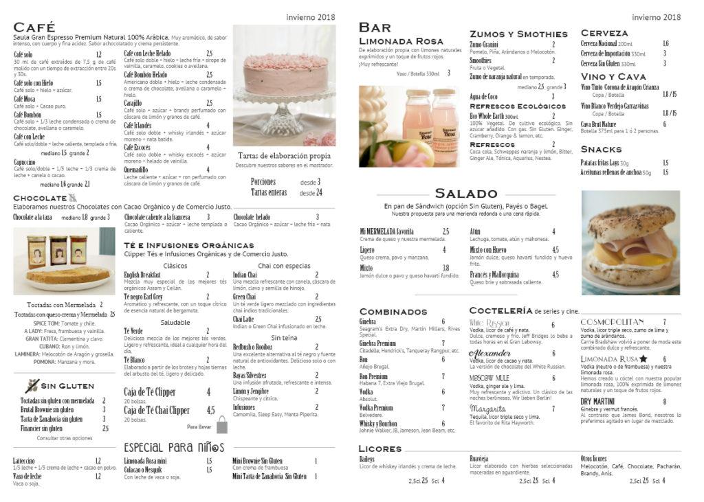 Carta cafeteria, tartas, sin gluten, celebraciones, desayunos, Zaragoza