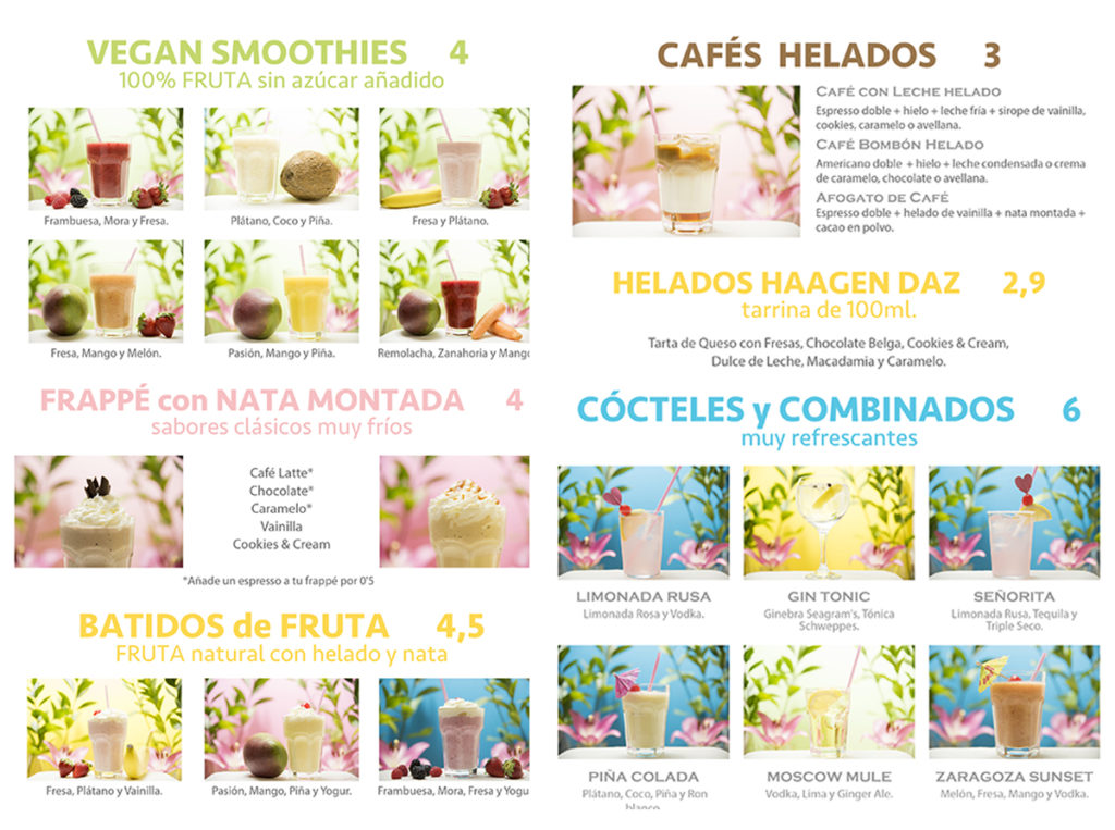 Carta Smootheis, frappes, batidos de fruta, cafés Zaragoza