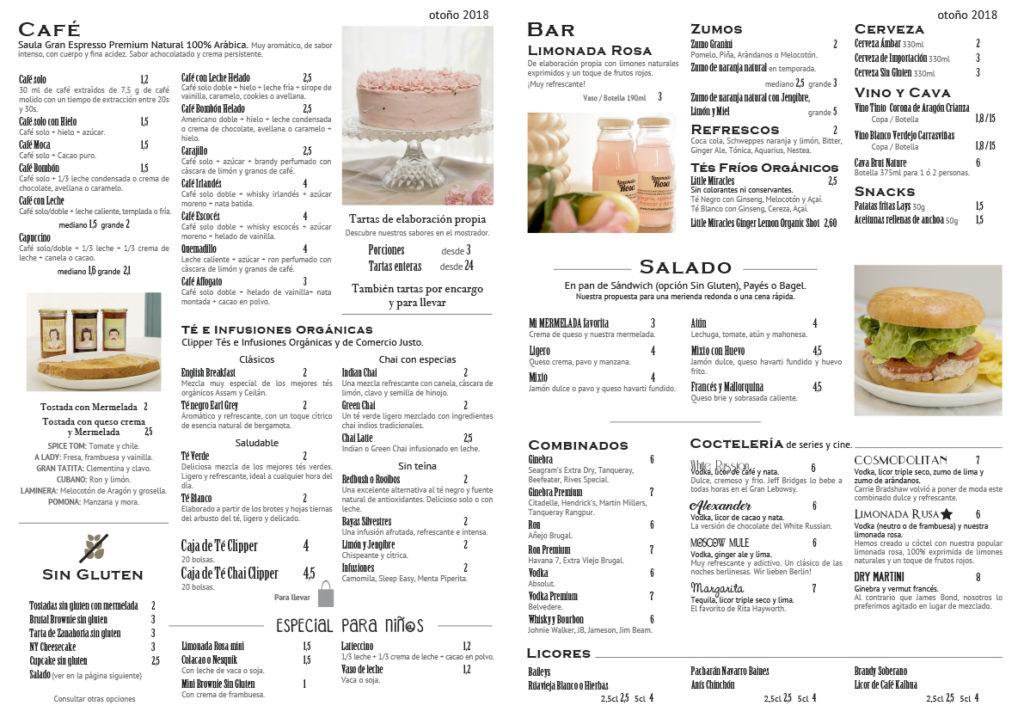 Carta meriendas, cafe, te, sin gluten, organico, tartas, Zaragoza