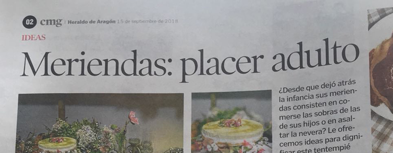Meriendas en Zaragoza. Placer adulto. Tarta, salados, financiero sin gluten, chocolate, té orgánico, limonada rosa.