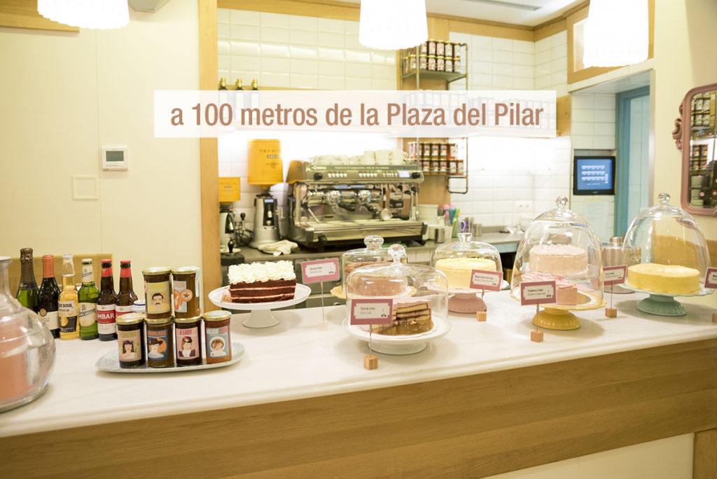 Cafeteria al lado de la Plaza del Pilar Fiestas del Pilar 2018 tartas Zaragoza