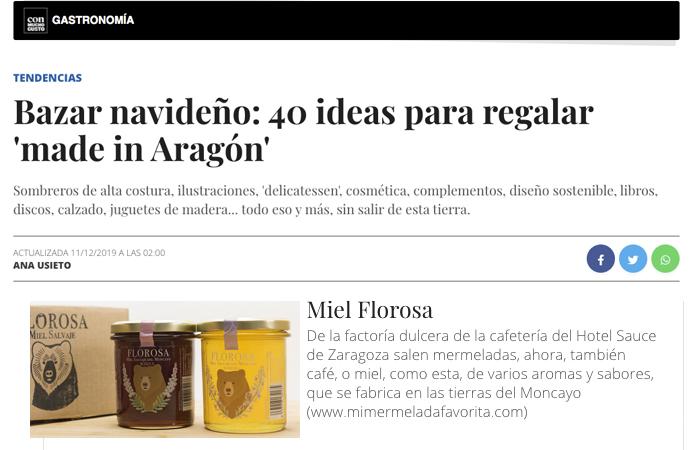 Regalos de Navidad hechos en Aragón. Miel FLOROSA Oferta. Zaragoza