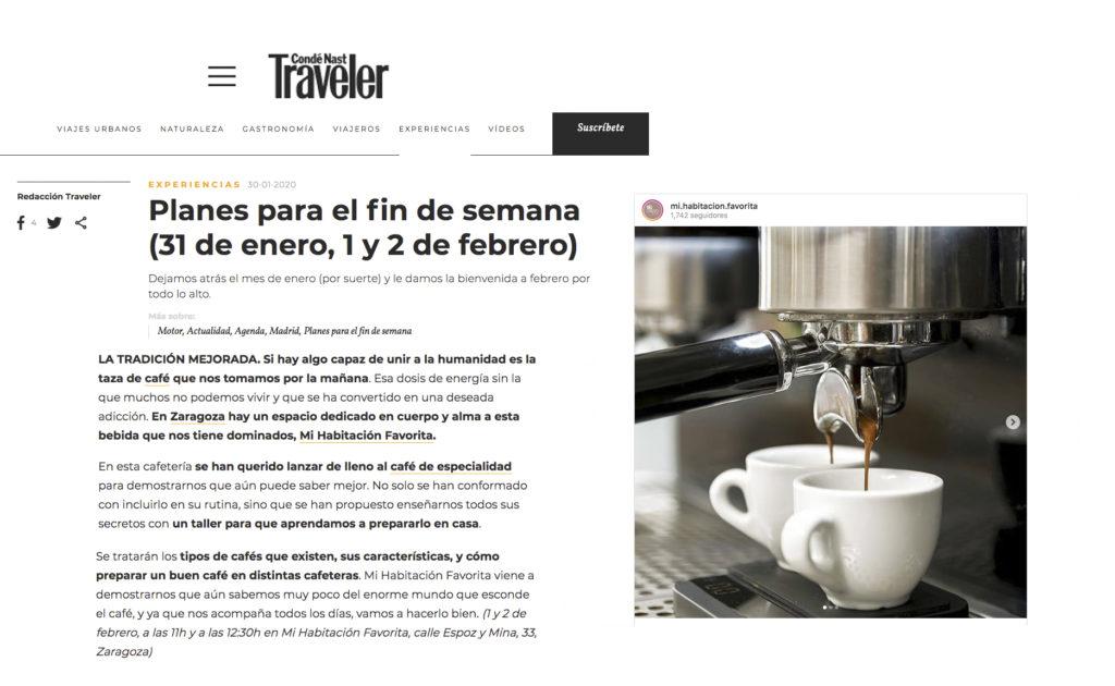 Taller café de Especialidad Zaragoza Mi HABITACION favorita plan de fin de semana revista traveler