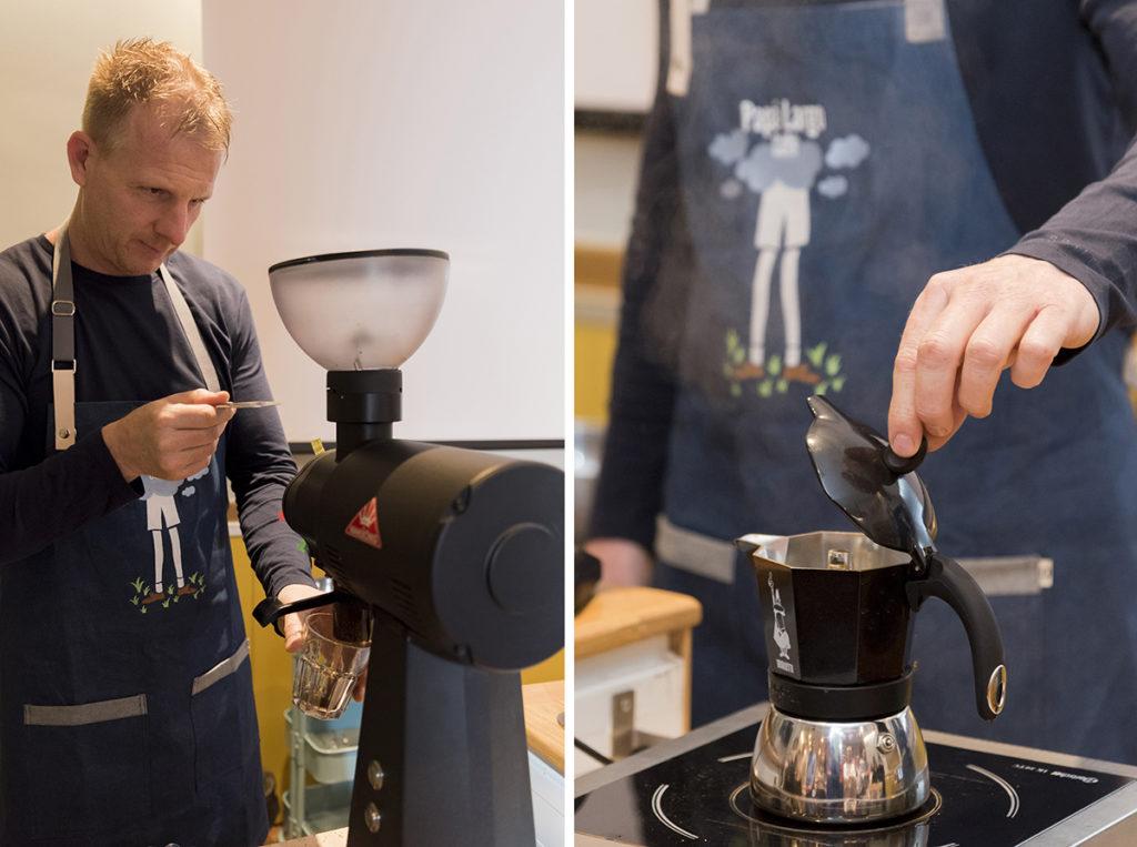 Café de Especialidad molido preparado en cafetera italiana