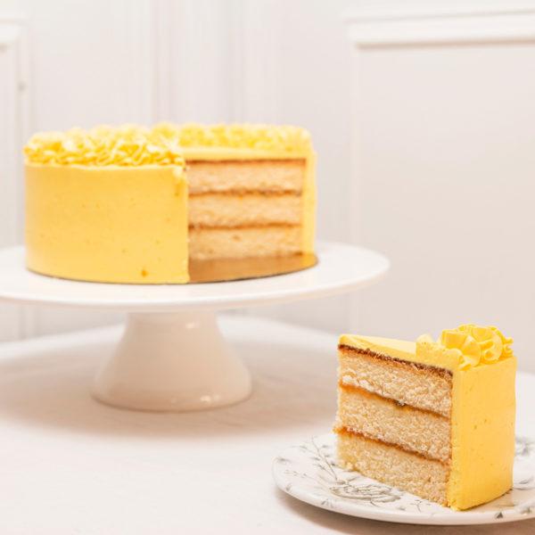 porcion tarta mango y maracuya
