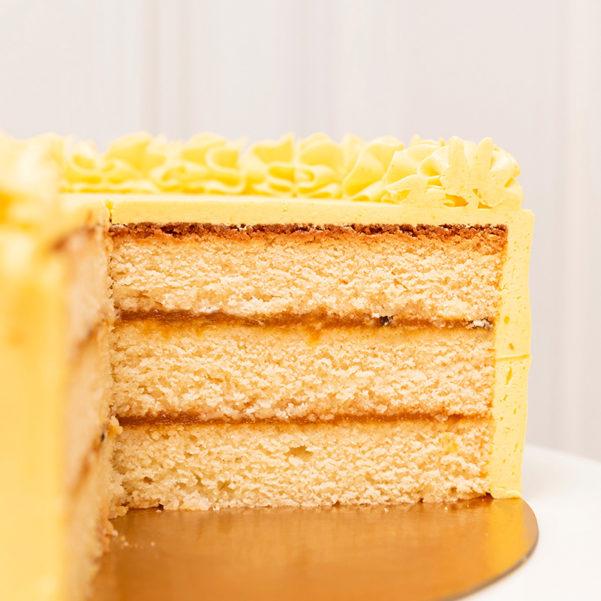 interior tarta mango y maracuya