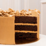 Interior tarta chocolate y cafe