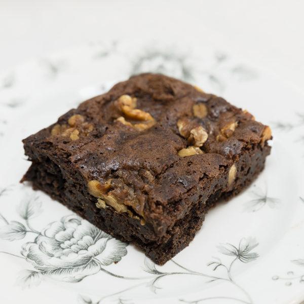 porción de brownie sin gluten