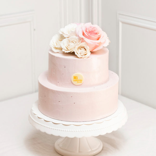 Tarta rosa de comunion