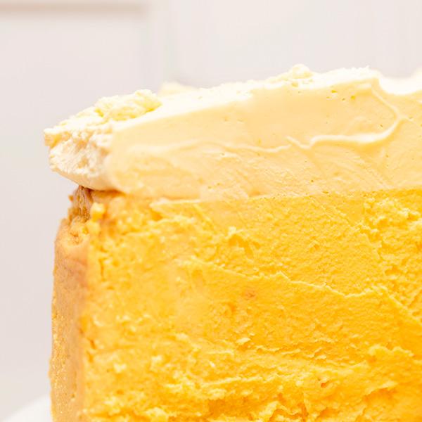 Tarta de queso de mango sin gluten textura